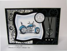 Motorcycle and clockworks embossed