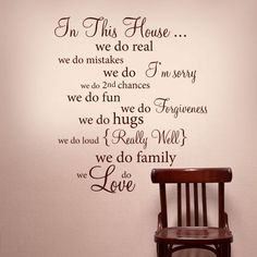 In this house wall words vinyl decal rules quote - wall decor lettering art