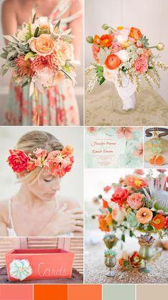 Los tonos anaranjados y el melocotón le darán un tono muy vibrante y alegre a tu decoración. #Color #Colors #Palette #Wedding