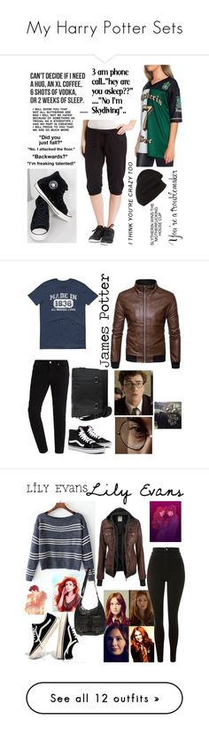 """""""My Harry Potter Sets"""" by drunkenwolfchild ❤ liked on Polyvore featuring Converse, Exist, Phase 3, 1670 HBC, Sirius, men's fashion, menswear, Topshop, Madewell and Wet Seal"""