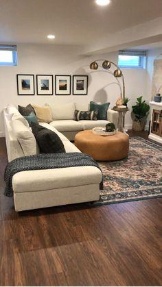 Basement Living Rooms, Living Room Decor Cozy, Room Decor Bedroom, Home Living Room, Apartment Living, Interior Design Living Room, Living Room Designs, Cozy Basement, Living Room Styles