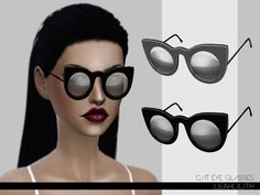 Cat Eye Glasses by LeahLilith at TSR • Sims 4 Updates