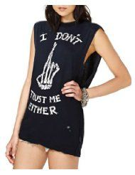 Chicnova Womens Punk Style Finger Bones Print Sleeveless T-shirt $15.99