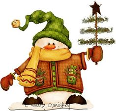Snowman con pino hermoso