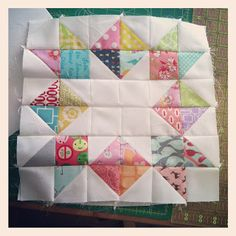Cute block by Marian Griffin of Lady Face. Inspiration for my star quilt! made of HST's.