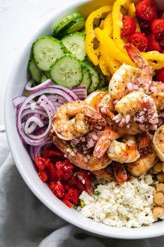 Mediterranean Chopped Salad with Lemon Garlic Shrimp is the ultimate, flavor-packed, loaded salad for summer! Shrimp Salad Recipes, Chopped Salad Recipes, Healthy Salad Recipes, Seafood Recipes, Cucumber Recipes, Greek Vinaigrette, Lemon Garlic Shrimp, Marinated Shrimp, Crispy Chickpeas
