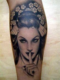 Badass Geisha Tat by Kat Von Dee.OMG that woman is one of the baddest tattoo artists ever! Geisha Tattoos, Geisha Tattoo Design, Tattoo Girls, Girls With Sleeve Tattoos, Bild Tattoos, Neue Tattoos, Great Tattoos, Beautiful Tattoos, Awesome Tattoos