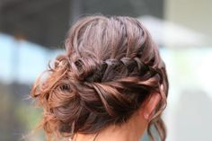 Brunette Braided Messy Updo - Hairstyles and Beauty Tips Braided Hairstyles For Wedding, Fancy Hairstyles, Wedding Hair And Makeup, Hair Makeup, Romantic Bridal Hair, Bridesmaid Hair, Prom Hair, My Hairstyle, Hairstyle Ideas