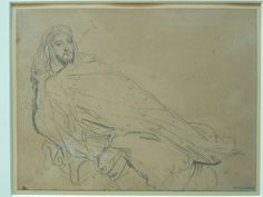 CHASSERIAU Théodore,1846 - Arabe allongé - drawing.