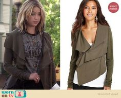 Hanna's khaki draped front jacket on Pretty Little Liars.  Outfit Details: http://wornontv.net/34934/ #PLL