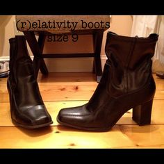 Size 9 boots Super cute size 9 boots in great shape.  Bottoms have some wear but the tops are almost flawless - I'll even polish them before they go!  They hit just above the ankle and look awesome with a great pair of jeans.  I just don't wear them! (r)elativity Shoes