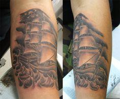 Pirate Ship -by Graham Fisher of Hot Rod Tattoo in Blacksburg, VA