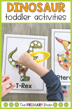 Dinosaur toddler activities are perfect for building fine motor skills through engaging hands-on learning. Help your 2 to 3 year old child build hand strength while learning about dinos. This tot school theme is sure to engage even the youngest of learners! Dinosaur Activities, Gross Motor Activities, Toddler Learning Activities, Literacy Activities, Fun Learning, Toddler School, Toddler Play, Tot School, Lesson Plans For Toddlers