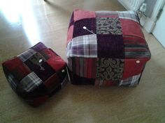 Hand made bespoke small and large patchwork pouffe