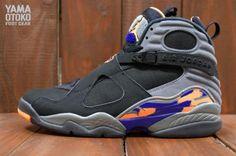 NIKE AIR JORDAN VIII RETRO BLACK/BRIGHT CITRUS-COOL GREY-DEEP ROYAL BLUE #sneaker