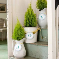 Spell out holiday sentiments with mini potted decorations. More project ideas: http://www.bhg.com/christmas/crafts/holiday-projects-for-instant-cheer/