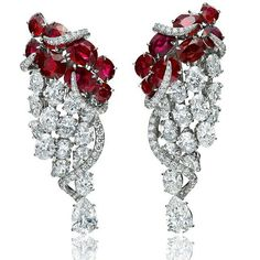 When rubies dance with diamonds, the movement is so elegant, so enchanting... #Faidee one-of-kind earrings with unheated Burmese rubies, oval, pear and round brilliant cut diamonds.