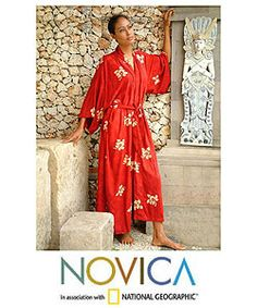 @Overstock - Silhouetted on crimson, delicate hibiscus flowers evoke thoughts of the tropics- yes please!!!  Flowery robe shows the tonal variations of batik  Nyoman Nadri fashions this graceful robe in a flattering front-wrap stylehttp://www.overstock.com/Worldstock-Fair-Trade/Womens-Red-Passion-Batik-Robe-Indonesia/2300890/product.html?CID=214117 $57.59