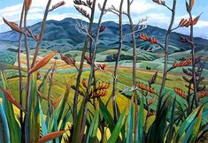 Karioi and Flax by Jane Galloway for Sale - New Zealand Art Prints