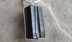 Raw Black Tourmaline Pendant Necklace by KiCrystalCreations, $22.00 Black Tourmaline, Flask, Sterling Silver Jewelry, Dog Tag Necklace, Trending Outfits, Unique Jewelry, Handmade Gifts, Pendant Necklace, Personalized Items