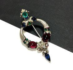 TRIFARI A. Philippe Jewels of TANJORE Brooch Sterling Ruby Emerald Sapphir KK201 #TrifariAlfredPhilippe
