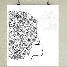 Omaľovánka Dievča kvetov