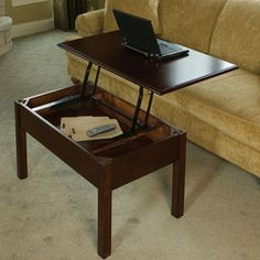 Pop-up coffee table! I would love to put these hinges on a door coffee table