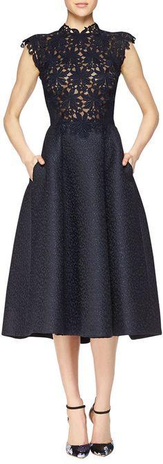 Monique Lhuillier Guipure Lace & Jacquard Fit-And-Flare Dress
