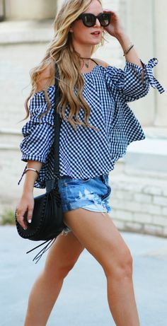 Florida fashion blogger styles gingham off the shoulder top with distressed denim shorts, and block heel sandals for an edgy summer outfit