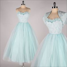 vintage 1950s dress . powder blue tulle . by millstreetvintage, $165.00