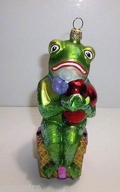 "Christopher Radko FROG O MY HEART Christmas Tree Ornament 6.25"""