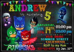 Pj Masks Invitation Pj Masks Birthday Pj Masks by RainbowInvite