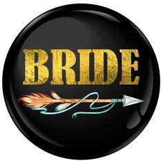 Bride Badge Foil with Arrow Hen Party Badges, Wedding Badges, Name Badges, Hens, Celebrity Weddings, Arrow, Bride, Diy, Do It Yourself