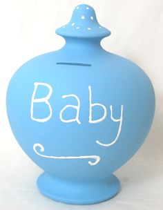 Our blank pottery terramundi has been painted pale blue and a the writing has been added using a 3D paint.