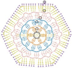 Manta con pastillas hexagonales tejidas a crochet (granny hexagon)