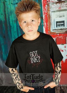 This tattoo sleeve shirt is sure to turn heads! The hip, cute and comfy shirt features a cool Got Ink? embroidery design on a 100% cotton black t shirt.