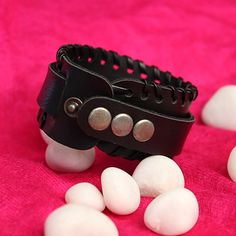 Redeem this Stunning Men Wide Pattern Leather Wristband  for FREE only on LooksGud.in #LooksGudReward #Wristband