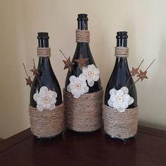 Black Wine Bottles 3 #decoratedwinebottles