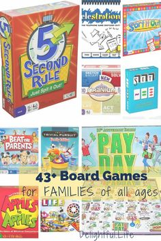 We've rounded up an incredible list of board games for families with kids of all ages. Whether you're looking for preschool games that aren't boring for the rest of your family, games for school age kids, or games that require a team effort, we've got yo Family Fun Games, Family Fun Night, Family Family, Family Games Indoor, Best Family Board Games, Family Trees, Group Games, Family Camping, Happy Family