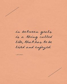 In between goals is a thing called life that must be lived and enjoyed.
