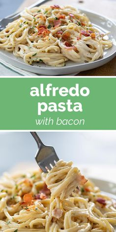 A decadent dinner recipe, this Alfredo Pasta with Bacon would be the perfect meal for a special night in. It tastes as good as eating out! Best Pasta Recipes, Bacon Recipes, Cooking Recipes, Cooking Videos, Easy Recipes, Chicken Recipes, Side Dish Recipes, Dinner Recipes, Fettucine Alfredo