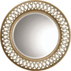 Uttermost 14028 B Entwined Mirror, Antique Gold. This unique, open fret frame is finished in antique silver and gold leaf over a mahogany undercoat. Scratched Silver Center With Heavily Antiqued Inner And Outer Rims. Decorative Bathroom Mirrors, Unique Mirrors, Antique Gold Mirror, Antique Silver, Round Wall Mirror, Round Mirrors, Silver Walls, Shades Of Gold, Unique Home Decor