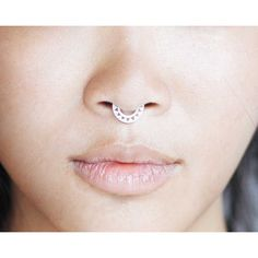 Septum Ring - Sterling Silver Nose Ring - Triangles Septum Ring -... (295 SEK) ❤ liked on Polyvore featuring jewelry, sterling silver jewelry, geometric jewelry, triangle jewelry and sterling silver jewellery