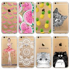 Case Bag For Apple iPhone 5 5S / 6 6S / 6Plus 6s Plus Soft TPU Transparent Cat Animal Friut Girl Owl Painted Cover Back Cases #clothing,#shoes,#jewelry,#women,#men,#hats,#watches,#belts,#fashion,#style