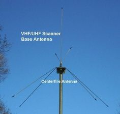 Centerfire VHF-Hi/UHF Multi-Band Base Station Scanner Antenna by Centerfire Antenna. $31.95. VHF-Hi/UHF Base Scanner Antenna 108-900 Mhz Receive Peak Performance: 137-165 Mhz,  420-470 Mhz, 825-875 Mhz  New Design! Now optimized for 800 Mhz band!  Rugged All Weather construction. All radials are  Stainless Spring Steel. Clamps to any mast from .75 to 1.5 inches in diameter. Mounting hardware and instructions included. Maximum Overall height: 37 inches. SO-239 stu...
