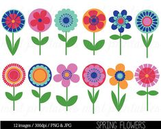 Flower Clipart Clip Art, Bright Flowers, Retro vintage flowers, Floral Clipart, Spring Clipart - Commercial & Personal - BUY 2 GET 1 FREE! Retro Flowers, Folk Art Flowers, Bright Flowers, Vintage Flowers, Spring Flowers, Flower Art, Watercolor Flowers Tutorial, Flower Tutorial, Vintage Clipart