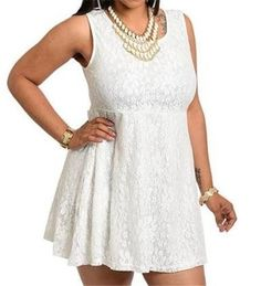 ALL WHITE EVENT LACE BEACH CASUAL WEDDING PLUS SIZE TANK SLEEVELESS DRESS