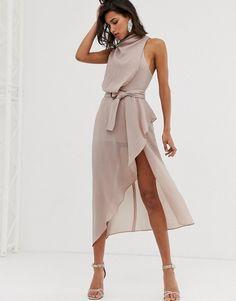 376f8ecbec ASOS DESIGN drape neck midi dress in textured fabric with self belt