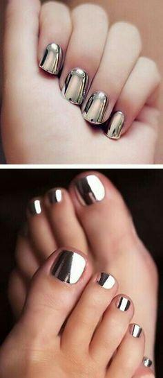 Espejo plateado uñas