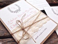 Rustic Wedding Invitation,Shabby Chic Wedding Invitation,Vintage Wedding Invitation,Lace Wedding Invitation,Blush Wedding Invitation